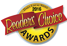 Logo Recognizing Dragon Gym Martial Arts & Fitness's affiliation with Readers Choice Awards 2016